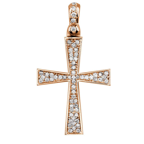 Diamond Cross Pendant, 0.75CT in 18K Pink, Rose gold