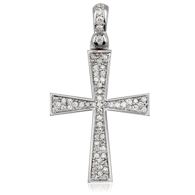 Diamond Cross Pendant, 0.75CT in 14K White Gold