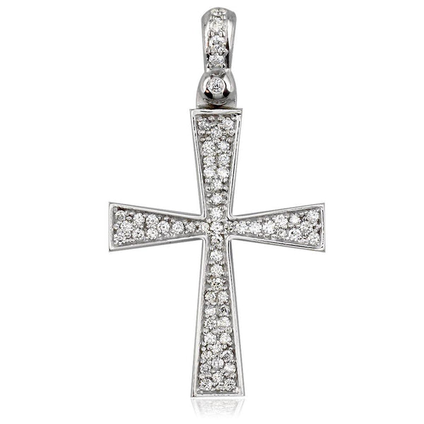 Diamond Cross Pendant, 0.75CT in 18K white gold