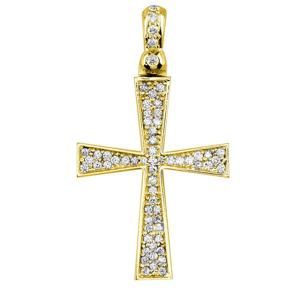 Diamond Cross Pendant, 0.75CT in 14K Yellow Gold
