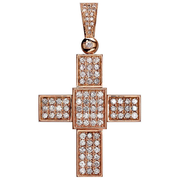 Large Diamond Cross Pendant, 2.75CT in 18K Pink, Rose gold