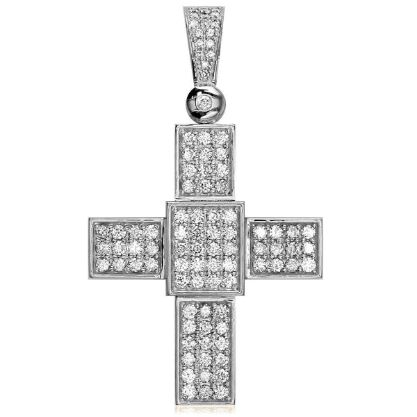 Large Diamond Cross Pendant, 2.75CT in 14K White Gold