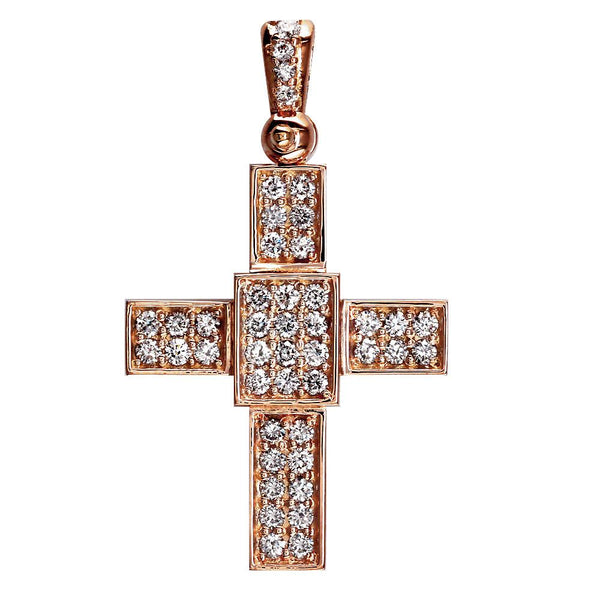 Smaller Size Diamond Cross Pendant, 1.65CT in 14K Pink, Rose Gold