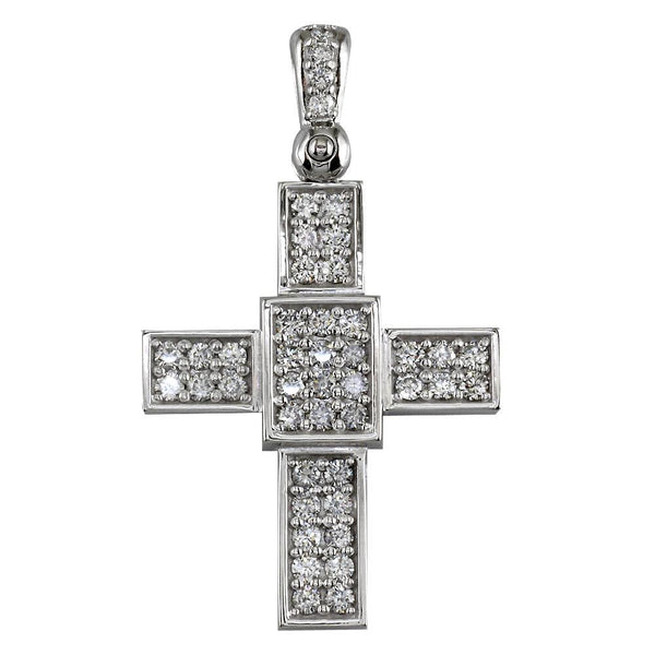 Smaller Size Diamond Cross Pendant, 1.65CT in 14K White Gold