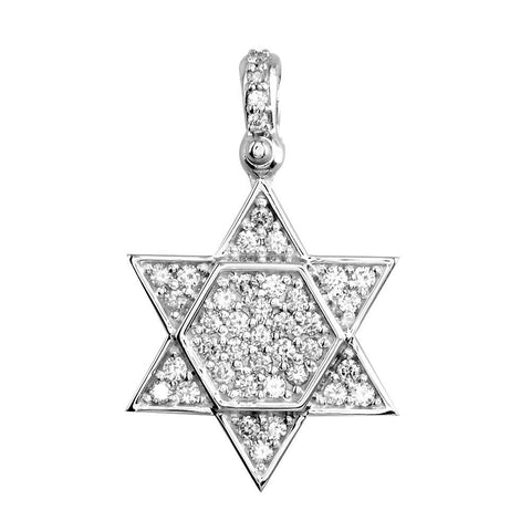 Diamond Star of David, Jewish Star Pendant, 1.0CT in 18K White gold
