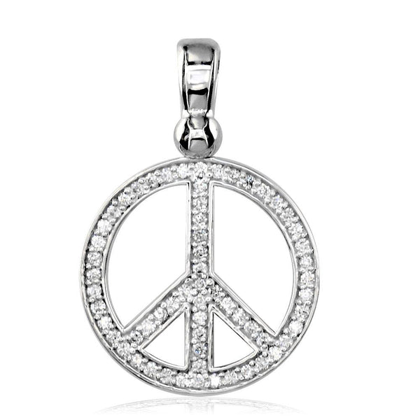 Medium Diamond Peace Sign Charm, 0.50CT, 3/4 Inch in 14K White Gold