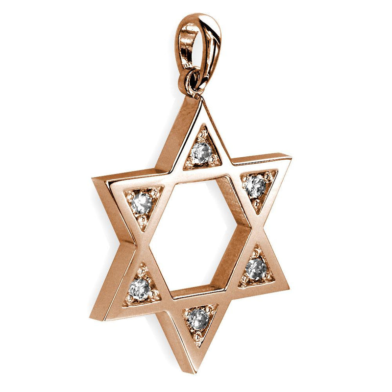 Open Diamond Star of David, Jewish Star Pendant, 0.30CT in 14K Pink, Rose Gold