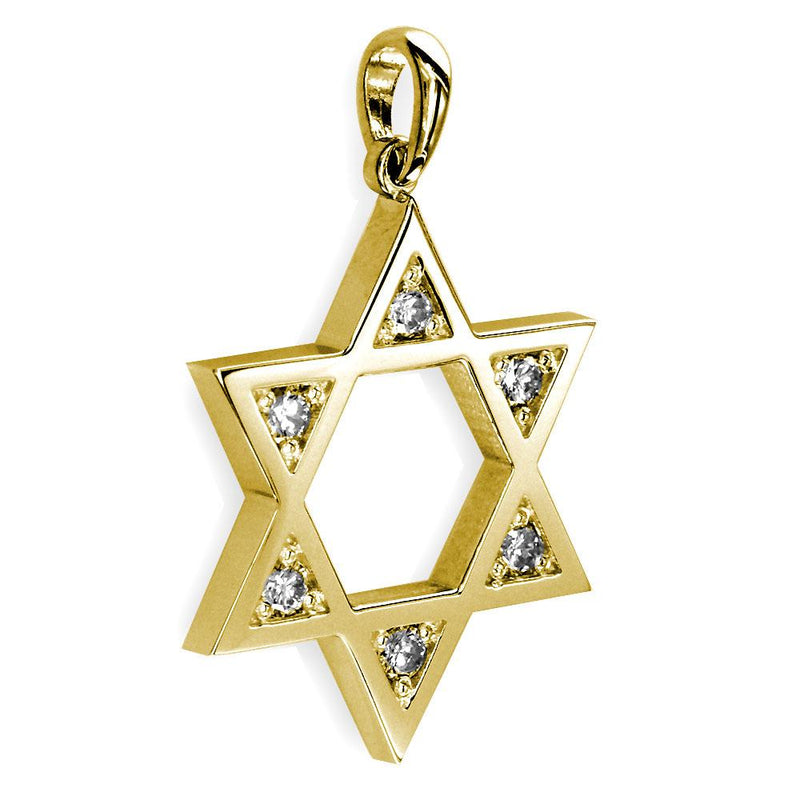 Open Diamond Star of David, Jewish Star Pendant, 0.30CT in 14K Yellow Gold