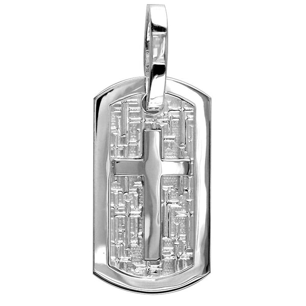 Large Cross Dog Tag Pendant with Crosses Background in Sterling Silver