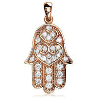 Large Hamsa, Hand of God Charm set with Cubic Zirconias in 14K Pink, Rose Gold