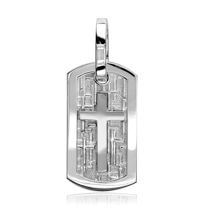Smaller Size Cross Dog Tag Pendant with Crosses Background in 14K White Gold
