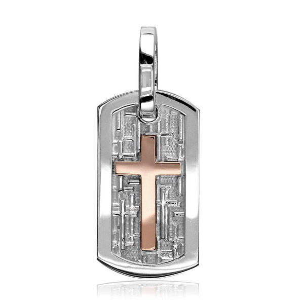 Smaller Size Cross Dog Tag Pendant with Crosses Background in 14K White and Pink, Rose Gold