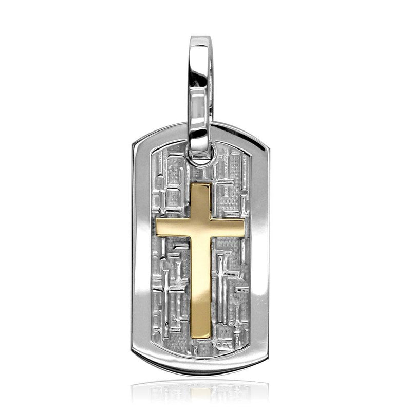 Smaller Size Cross Dog Tag Pendant with Crosses Background in 14K White and Yellow Gold