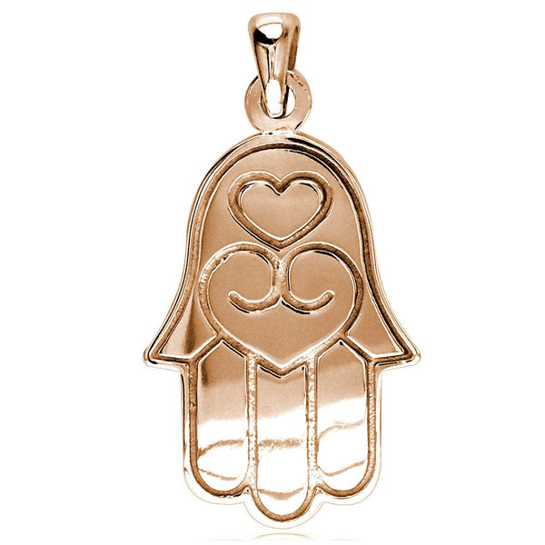 Large Hamsa, Hand of God Charm in 18K Pink, Rose Gold