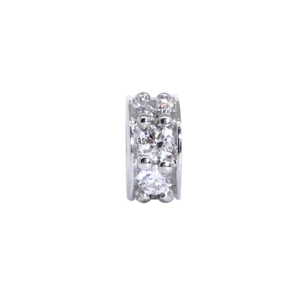 5mm Diamond Spacer, Roundel Pendant, 0.12CT in 14k White Gold