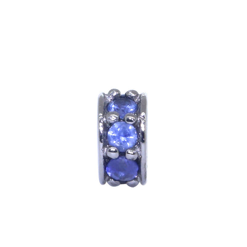5mm Blue Sapphire Spacer, Roundel Pendant, 0.20CT in 14k White Gold