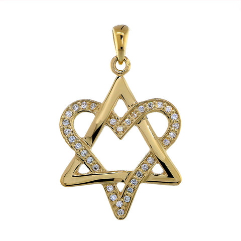 Open Diamond Heart Star of David, Jewish Star Pendant, 0.25CT in 14K Yellow Gold