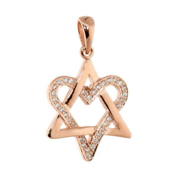 Small Open Diamond Heart Star of David, Jewish Star Pendant, 0.20CT in 14K Pink, Rose Gold