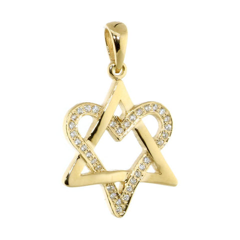 Small Open Diamond Heart Star of David, Jewish Star Pendant, 0.20CT in 18K Yellow Gold