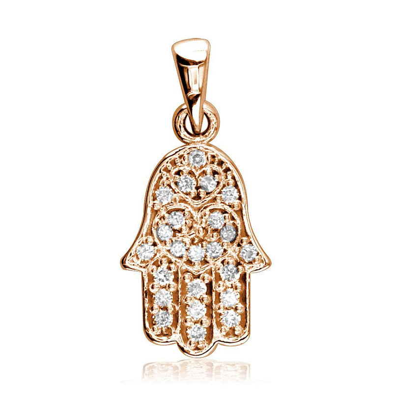 Small Diamond Hamsa, 0.25CT, Hand of God Charm in 14K Pink, Rose Gold