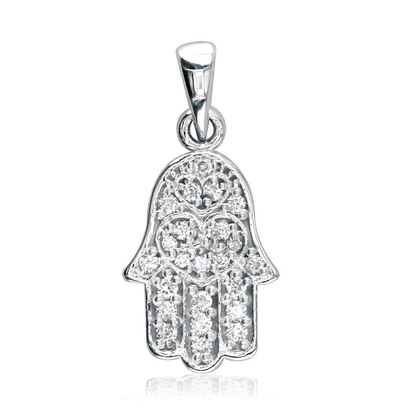 Small Hamsa Hand of God Charm in Sterling Silver set with Cubic Zirconias