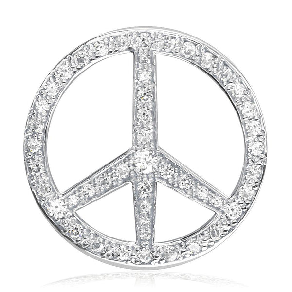 Large Peace Sign Charm, 1 1/8 Inch with Cubic Zirconias in Sterling Silver