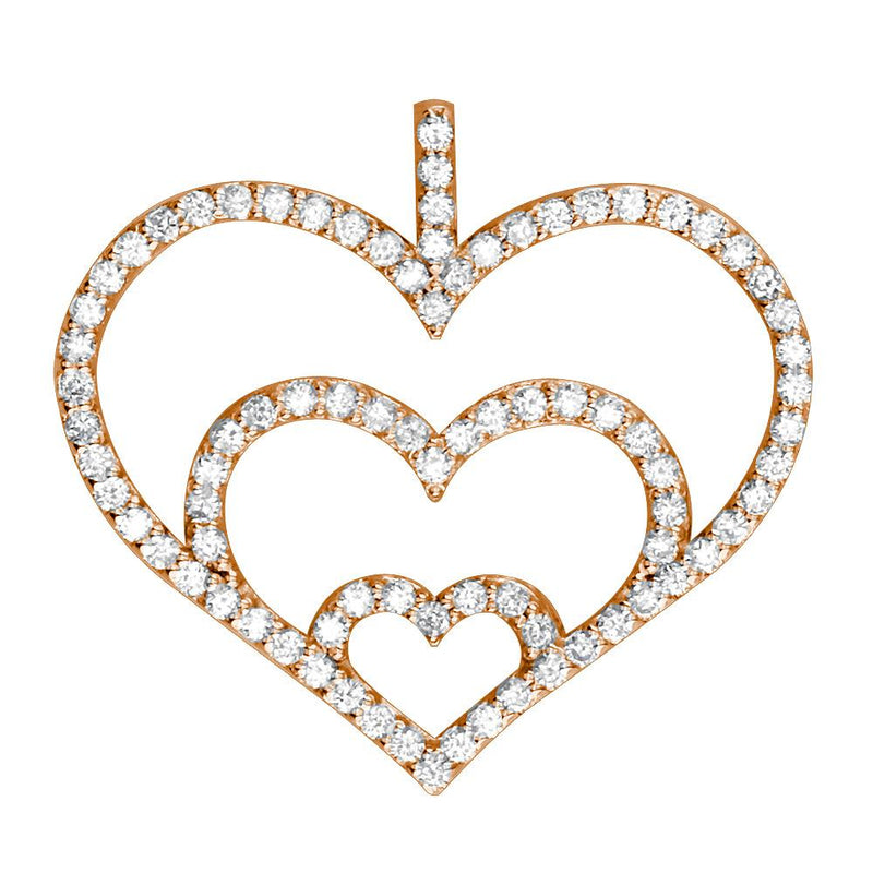 Triple Heart Diamond Pendant, 0.84CT in 14K Pink, Rose Gold