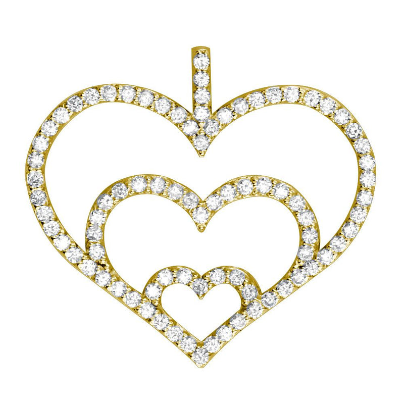 Triple Heart Diamond Pendant, 0.84CT in 14K Yellow Gold