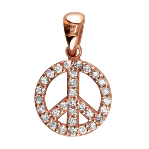 Small Diamond Peace Sign Charm, 0.35CT, Half Inch in 14K Pink, Rose Gold