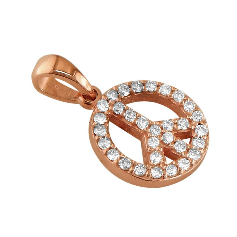Small Diamond Peace Sign Charm, 0.35CT, Half Inch in 18K Pink, Rose Gold