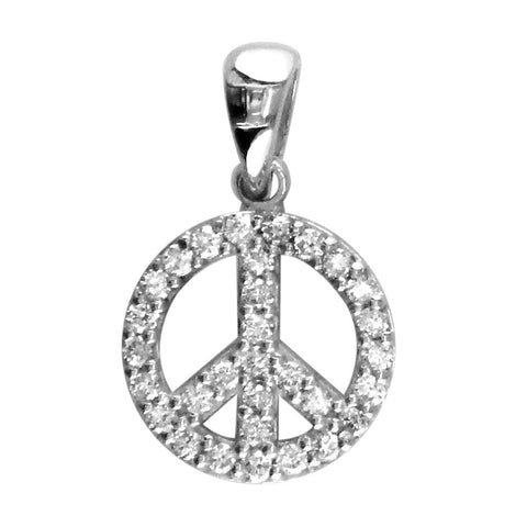 Small Diamond Peace Sign Charm, 0.35CT, Half Inch in 14K White Gold