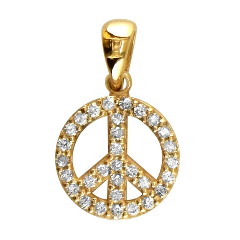 Small Diamond Peace Sign Charm, 0.35CT, Half Inch in 14K Yellow Gold