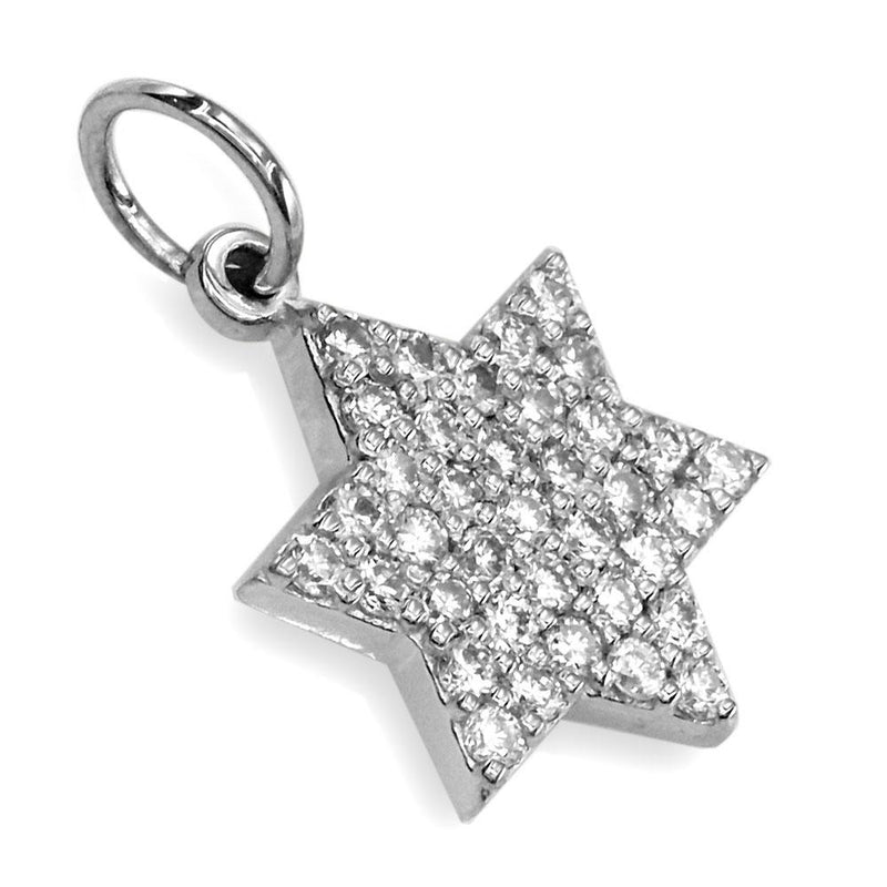 Small Diamond Star of David, Jewish Star Pendant, 0.44CT in 14K White Gold