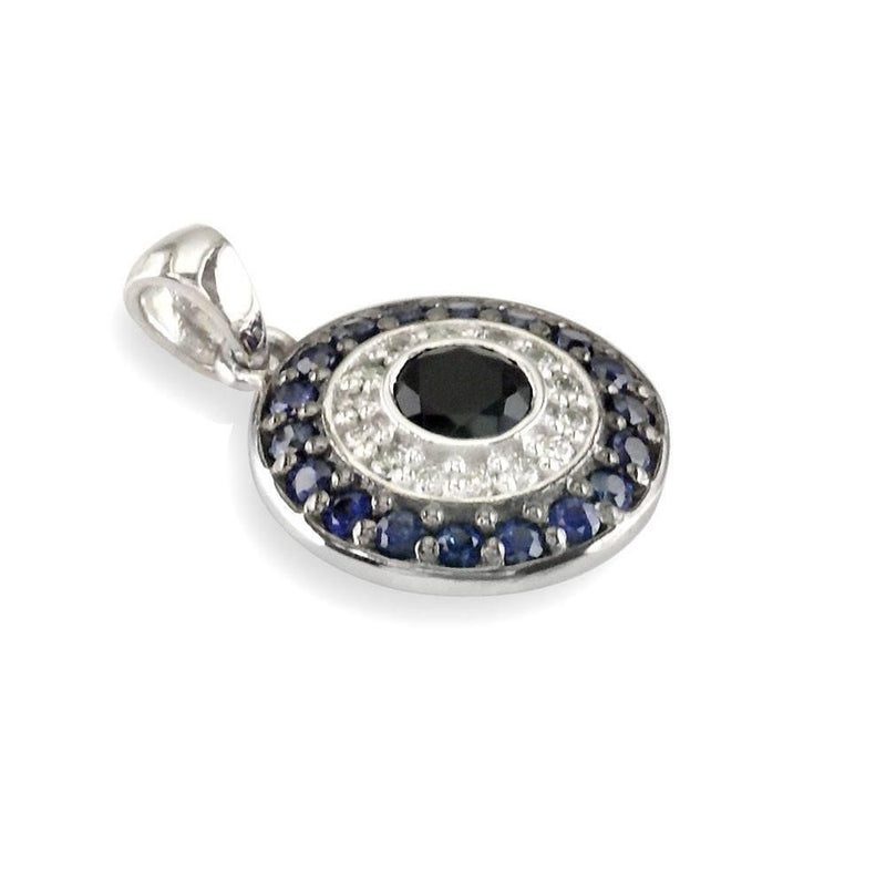 Diamond, Sapphire, and Onyx Evil Eye Charm, 15mm Wide, in 14K White Gold