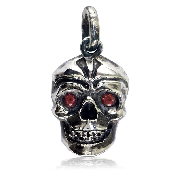 Large Skull Pendant with Black Detail and Red Orange Mozambique Garnets in Sterling Silver