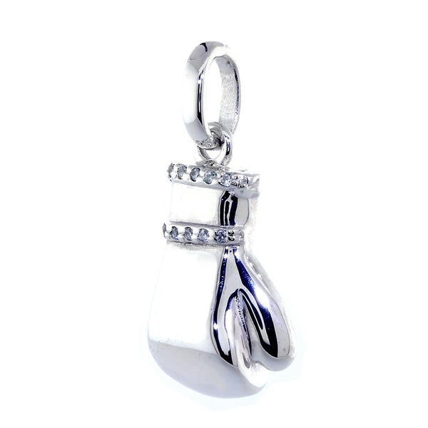 Right Handed Boxing Glove Pendant with Cubic Zirconias, 1 Inch in Sterling Silver