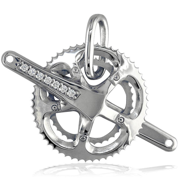 Extra Large Bicycle Crank Pendant with Cubic Zirconias, Bike Sprocket Wheel in Sterling Silver