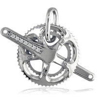 Extra Large Bicycle Crank Pendant with Cubic Zirconias, Bike Sprocket Wheel in 14K White Gold