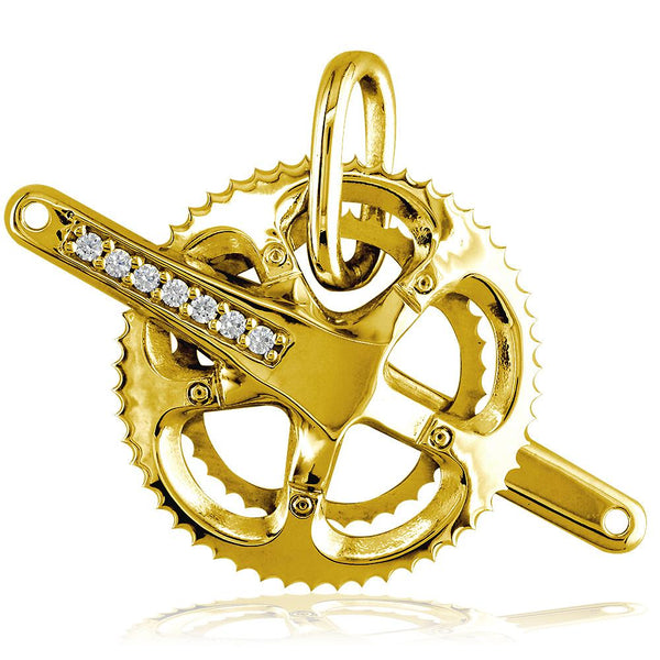 Extra Large Bicycle Crank Pendant with Cubic Zirconias, Bike Sprocket Wheel in 18k Yellow Gold