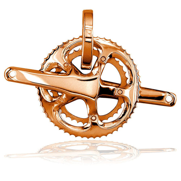 Extra Large Bicycle Crank Pendant, Bike Sprocket Wheel in 14K Pink, Rose Gold