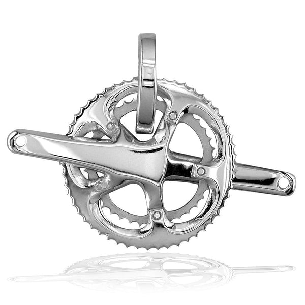 Extra Large Bicycle Crank Pendant, Bike Sprocket Wheel in 14K White Gold
