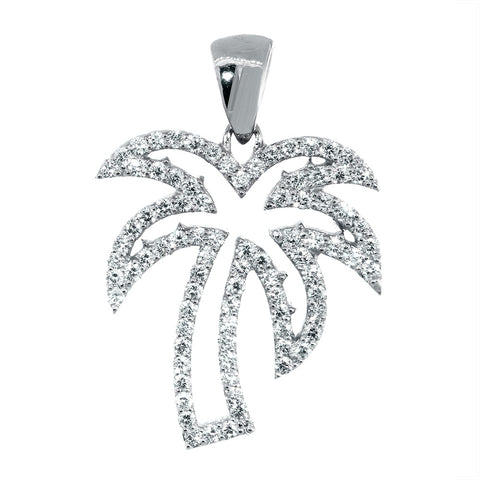 Medium Size Open Diamond Palm Tree Pendant, 0.88CT in 14K White Gold
