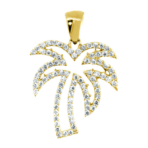 Medium Size Open Diamond Palm Tree Pendant, 0.88CT in 14K Yellow Gold
