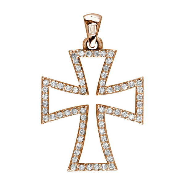 Open Diamond Cross Charm in 14K Pink, Rose Gold