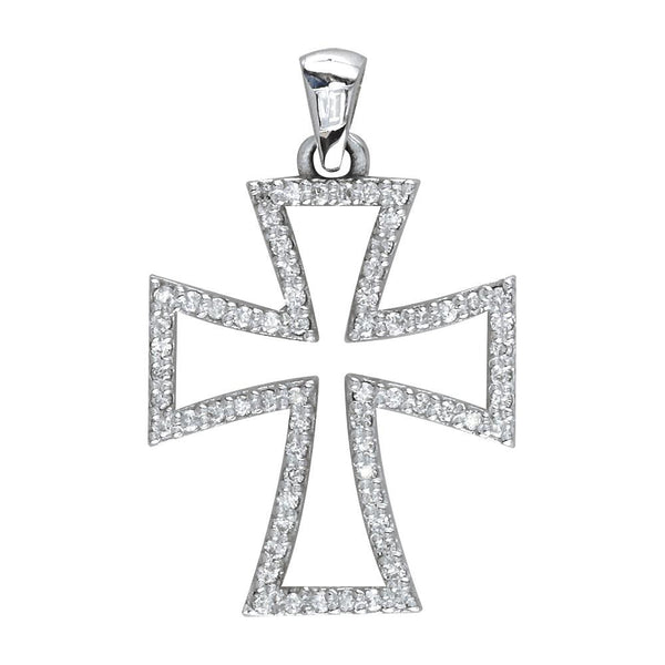 Open Diamond Cross Charm in 14K White Gold