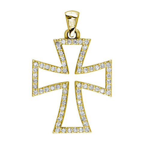 Open Diamond Cross Charm in 18K Yellow Gold