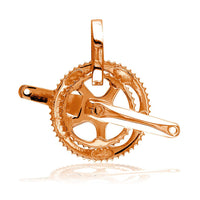 Large Bicycle Crank Pendant, Bike Sprocket Wheel in 18k Pink, Rose Gold