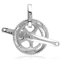 Large Bicycle Crank Pendant, Bike Sprocket Wheel in 14K White Gold