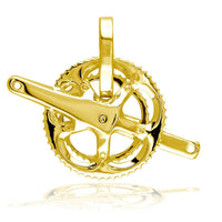 Large Bicycle Crank Pendant, Bike Sprocket Wheel in 18k Yellow Gold