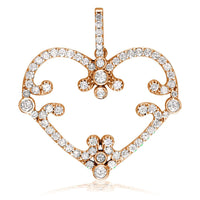 Vintage Style Open Diamond Heart Pendant, 1.08CT in 18K Pink, Rose Gold
